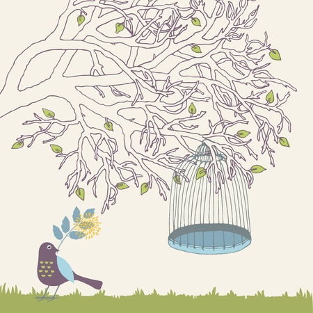 Tree branch and empty bird cage Stock Vector - 12940711