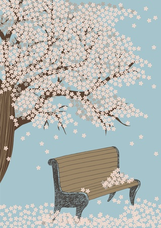 Bench and blooming tree in spring park Vector