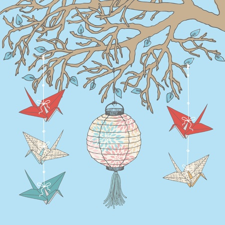 Paper cranes and paper lantern hanging on tree branch Stock Vector - 12940719