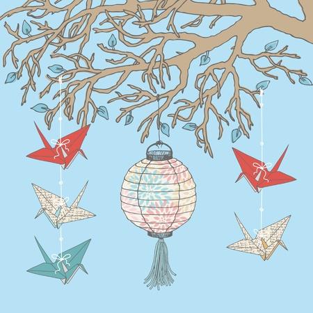 sky lantern: Paper cranes and paper lantern hanging on tree branch