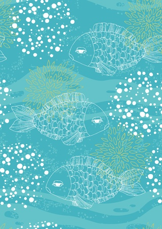 Blue seamless pattern with fishes and bubbles Vector