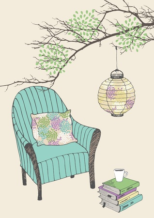 Armchair with pillow and paper lantern