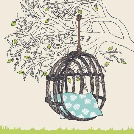 Sedia di vimini pendule su un ramo