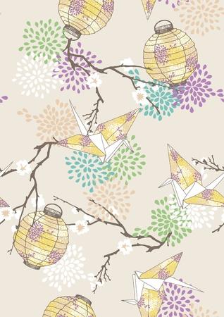 papierlaterne: Nahtlose Muster mit gelbem Papier Kraniche und Laternen Illustration