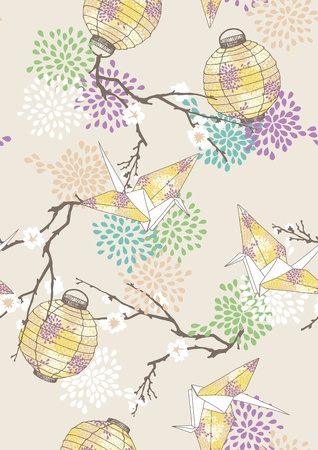 Seamless pattern with yellow paper cranes and lanterns
