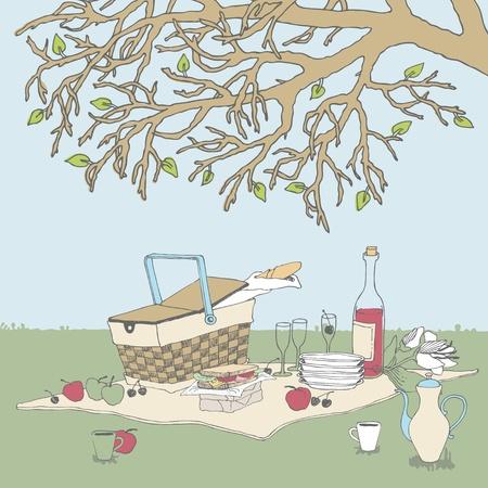 pane e vino: Cestino da picnic sotto un albero
