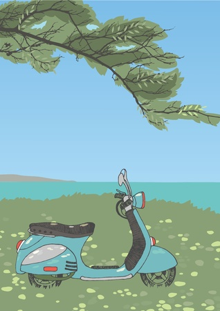 Blue scooter under a tree Vector