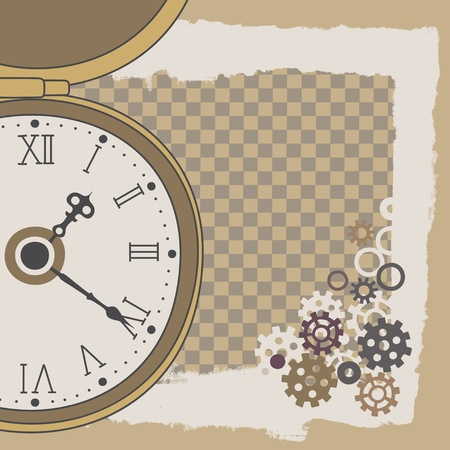numeros romanos: Cuadro con reloj de bolsillo y engranajes