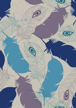 Seamless pattern with peacock feathers Vector