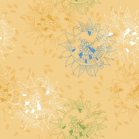 Yellow seamless pattern with sunflowers Vector