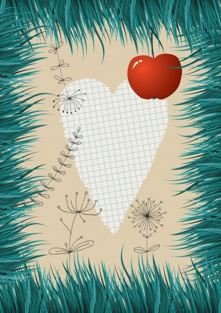 Grass frame and paper heart Vector