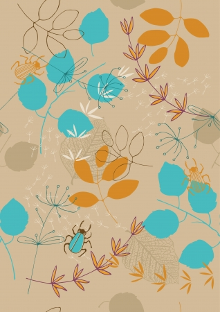 Brown seamless pattern with leaves and small bugs Stock Vector - 15303502