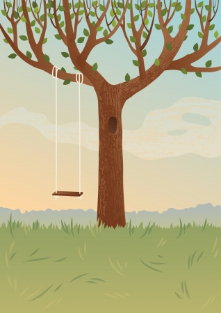 Big tree and swing Vector