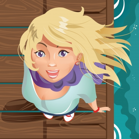 blonde teenager: Smiling girl on the wooden pier