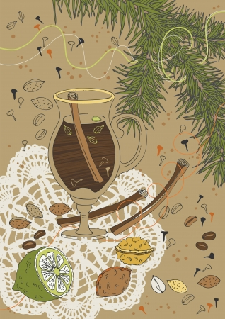 Illustration of coffee with spices Vector