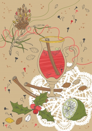 Illustration of mulled wine with spices Vector