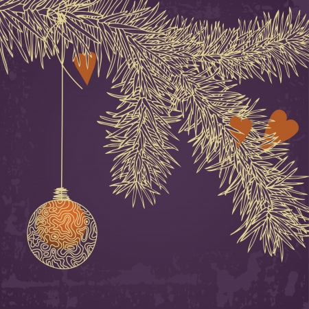 Golden ball on Christmas tree Vector