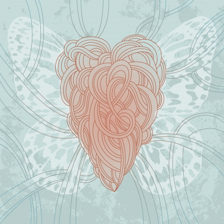 Illustration of heart with butterfly wings Vector
