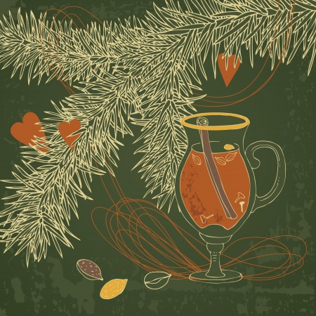 Hot mulled wine and christmas tree Vector