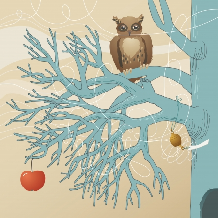 Owl sit on the branch  Vector