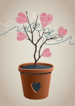 Small tree with leaf in the form of a heart Vector