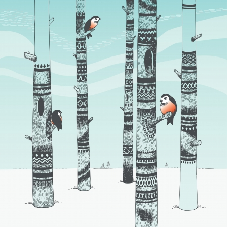 tree drawing: Bullfinches in carving woods