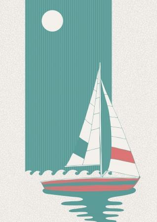 Illustration de bateau solitaire en mer