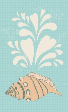 utterance: Illustration of orange seashell and bubbles