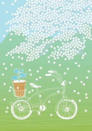 Bicycle with flowerpot and white blooming tree Vector