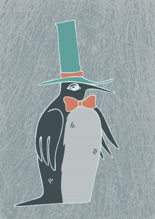 tophat: Illustration of serious penguin in top-hat