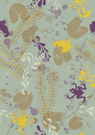 lily pad: Seamless pattern with different frogs and lily pads