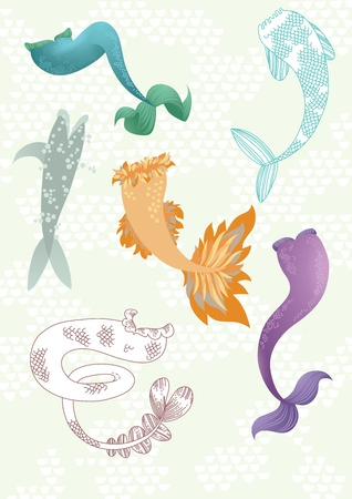 gray scale: Illustration of different mermaids  tails