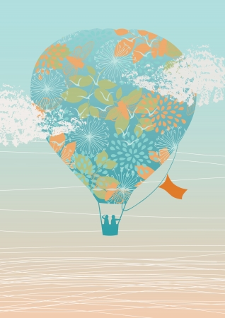 Illustration of hot air balloon in the sky Vector