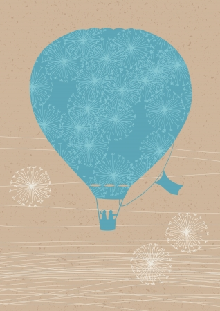 Illustration of hot air balloon with dandelions
