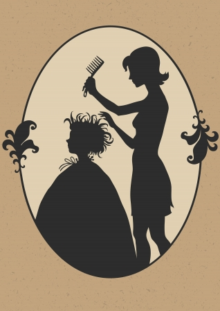 cartoon hairdresser: Illustration of hairdresser at work Illustration
