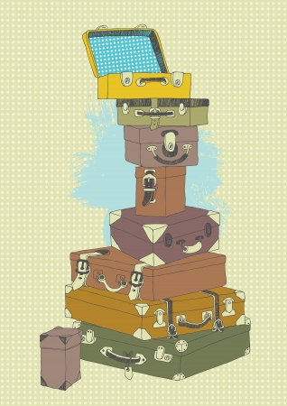 luggage bag: Illustration of suitcases  pile before travel