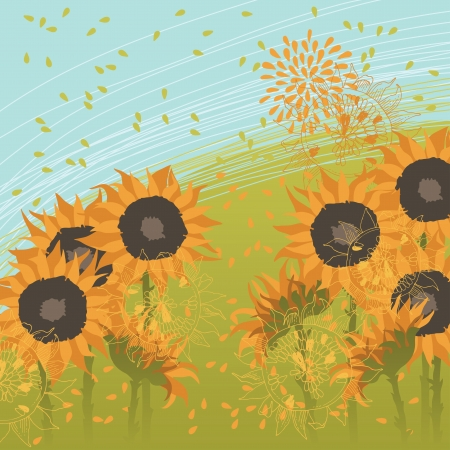 blossoming: Illustration of sunflowers blossoming