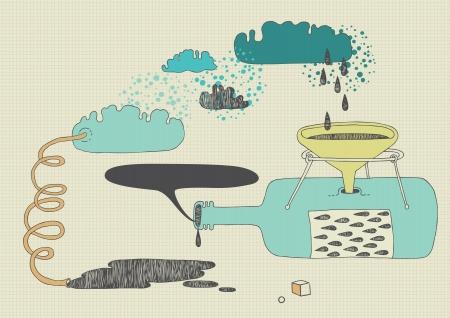 apparatus: Strange apparatus making something Illustration