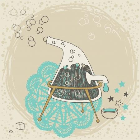 ebullition: Distillateur �trange avec un liquide bouillant Illustration