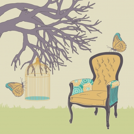 antique chair: Armchair and cage hanging on branch