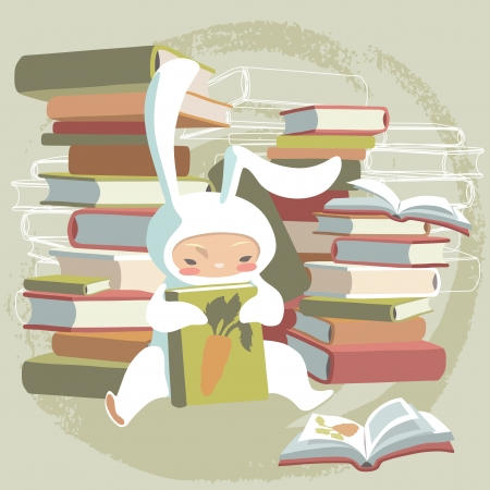 Child in bunny costume and its favorite book Vector