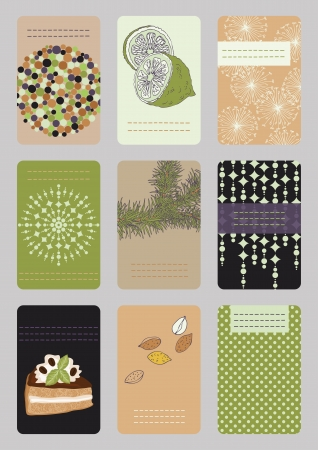 pine nut: Set of vertical colourful business cards