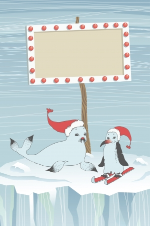 guide board: Christmas seal and penguin near the guide board Illustration