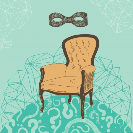vacant: Vacant armchair for the mysterious person Illustration