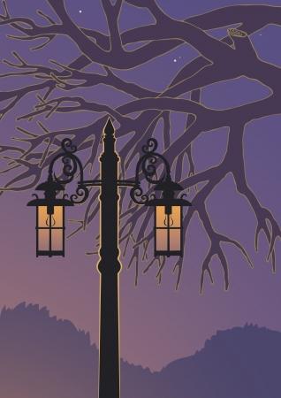 lamp posts: Illustration of lamppost at night
