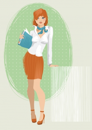 Illustration of a young attractive secretary Vector