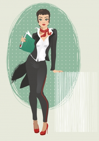 Illustration of a young attractive waitress Vector
