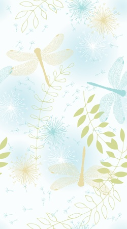 Seamless pattern with dandelions, leaves and dragonflies Vector