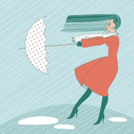 Young woman in the rain trying to hold her umbrella Vector
