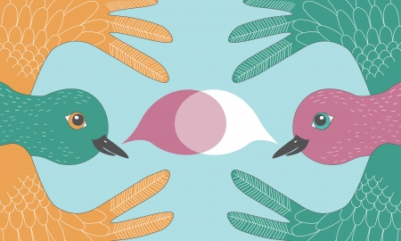 birdsong: Illustration of talking birds